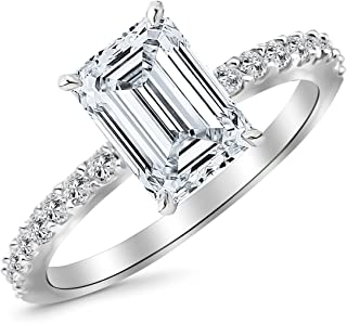1.33 Carat Classic Sidestone Pave Set Diamond Engagement Ring with a 1 Carat Emerald Cut J Color VS1 Clarity Center Stone