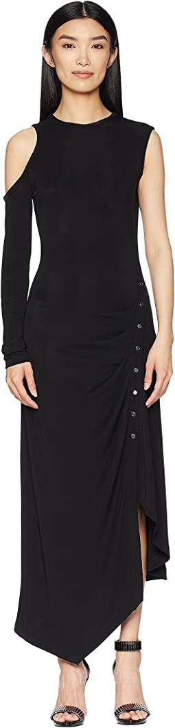 Matte Jersey One Sleeve Dress with Snap Closure