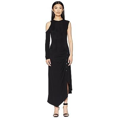 YIGAL AZROUEL Matte Jersey One Sleeve Dress with Snap Closure (Jet) Women