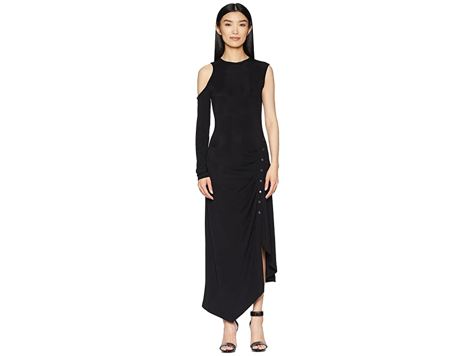 YIGAL AZROUEL Matte Jersey One Sleeve Dress with Snap Closure (Jet) Women