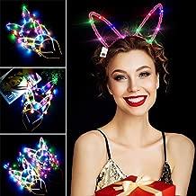 Light Up Rabbit Ears LED Headband, Aniwon 10PCS Bunny Ears Flashing Headbands Cute Hair Hoop for Kids Girls Adult Halloween Christmas Party Decorations Hair Accessories