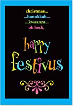 12 'Festivus Oh Heck Boxed Christmas' Funny Holiday Greeting Cards 4.63 x 6.75 inch, Hilarious Note Cards Featuring Festivus Facts, Stationery Set with Envelopes for Xmas, New Year, Gifts B1254