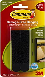 Command Large Picture Hanging Strip, Holds 7.2 kg, No Drilling, Holds Strong, No Wall Damage (Black, 4 Pairs)