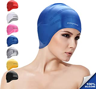 Msicyness Swim Cap for Women Men Silicone Swimming Hat Cover Ears Unisex Adult Swimming Pool Caps