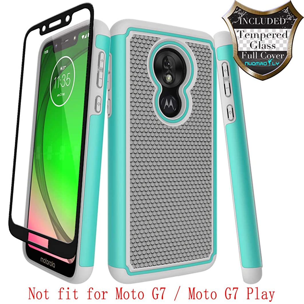 Moto G7 Power Case,Moto G7 Supra with [Tempered Glass Screen Protector] Nuomaofly Rugged Heavy Duty Shock-Absorption Protection (Grey)