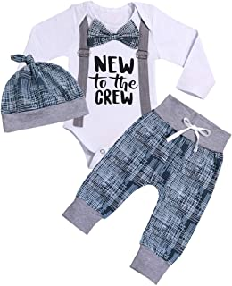 itkidboy Newborn Baby Boy Girl New to The Crew Gentleman Long Sleeve Romper Pants Outfit