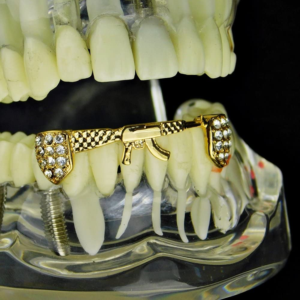14K Gold Plated Grillz AK-47 Rifle Gun Shape Lower Bottom Row Bling Iced Teeth Hip Hop Mouth Grills