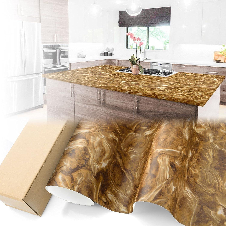 Matte Caramel Low New product!! price Marble Granite Vinyl Wallpaper Paper Countertop De