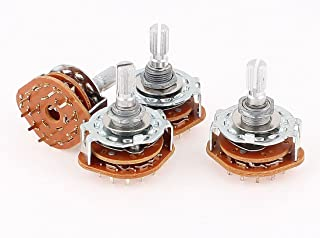 uxcell 4 x Rotary Switch Potentiometer 3 Pole 4 Position 15 Pins