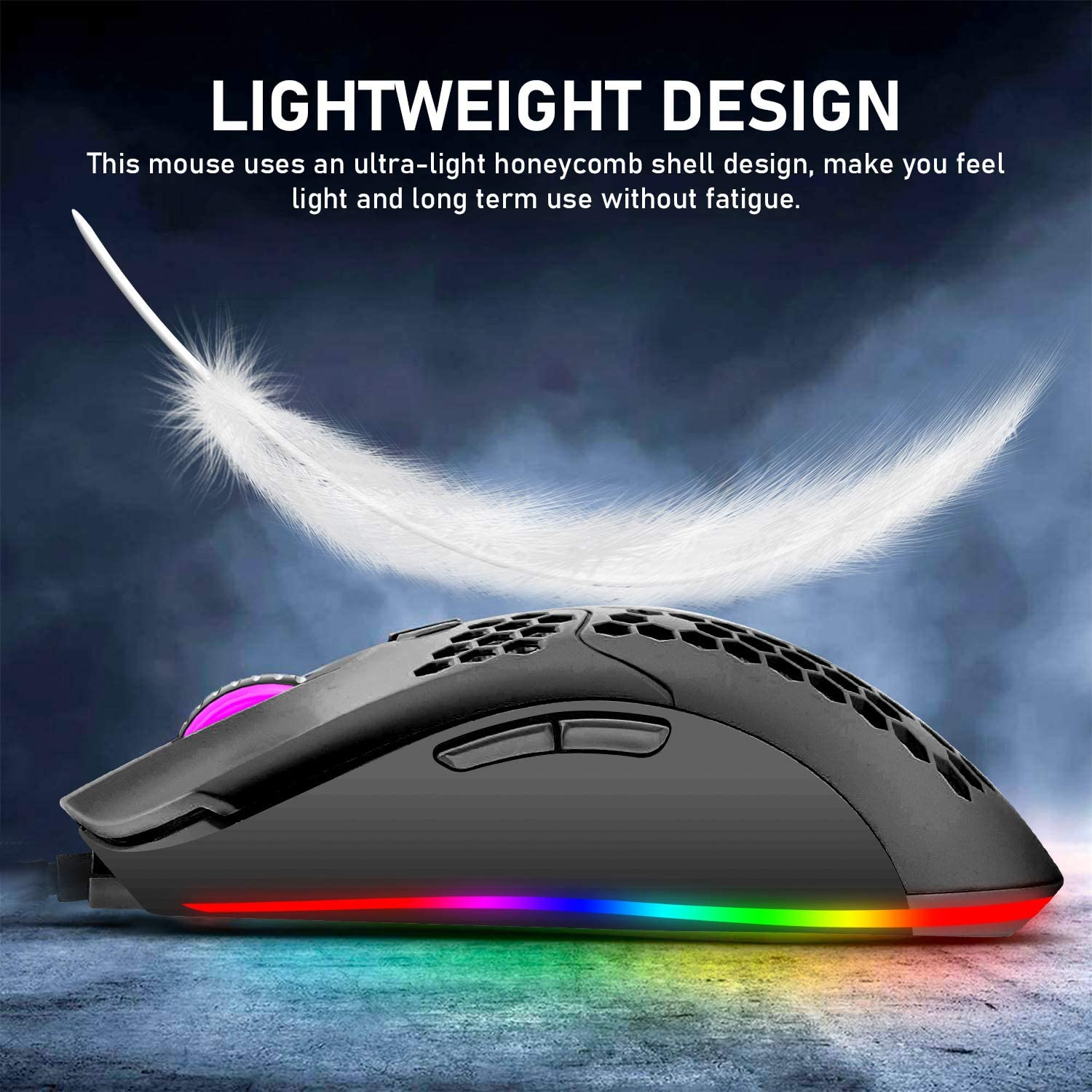 Mechanical Gaming Keyboard Blue Switch Mini 82 Keys Wired Rainbow LED Backlit Keyboard,Lightweight Gaming Mouse 6400DPI Honeycomb Optical,Gaming Mouse Pad for PC Gamers(Black)
