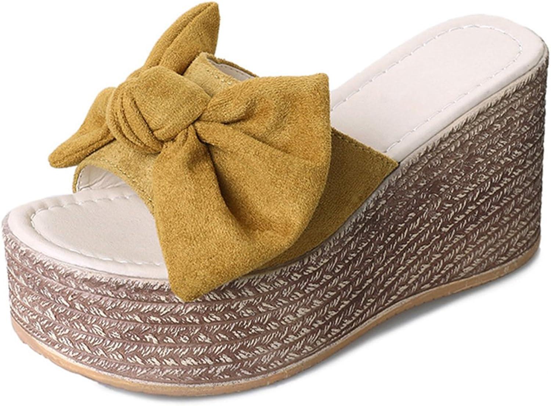 Giles Jones Wedges Flip Flops Sandals for Women,Sweet Bow Flat Platform Beach Slipper shoes