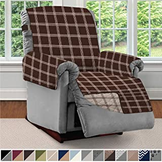Sofa Shield Original Patent Pending Reversible Recliner Slipcover, 2 Inch Strap Hook Seat Width Up to 28 Inch Washable Furniture Protector, Slip Cover for Pets, Kids, Recliner, Plaid Chocolate Beige