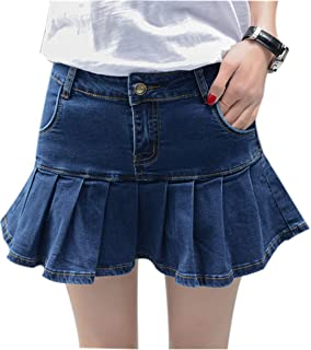 Yeokou Women's Slim A-line Pleated Ruffle Short Mini Denim Skirts