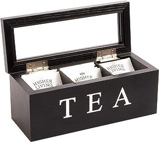 Cooper & Co. Homewares 3 Compartment Wood Tea Box, Black