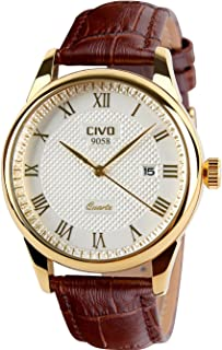 CIVO Mens Watches Luxury Waterproof Date Calendar Wrist Watches for Men Leather Stainless Steel Casual Business Dress Watch Fashion Classic Analogue Quartz Watch