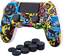 YoRHa Water Transfer Printing Camouflage Silicone Cover Skin Case for Sony PS4/slim/Pro dualshock 4 controller x 1(Comic Skull) With Pro thumb grips x 8