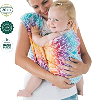 Be Lenka Baby Wrap Mandala Rainbow Colour 100% Organic Cotton Suitable for Wearing Infants from Birth Until The End of The Babywearing Period 4,6m Long Handmade in Europe