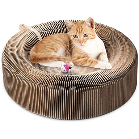 Triangle Shape Corrugated Cat Scratcher Board Lounge Gladiour Cat Scratch Pad with Catnip,Triangle one side with bell-ball,Scratching Post,Scratcher Cardboard Scratching Cat Toy Unique Double Texture Surface Durable Design