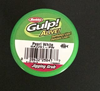Gulp! Alive! Berkley 1.5 inch Pearl White Jigging grubs 2 jar Bundle ice Fishing Lures panfish Bait Crappie Bait Gulp Jigging grubs