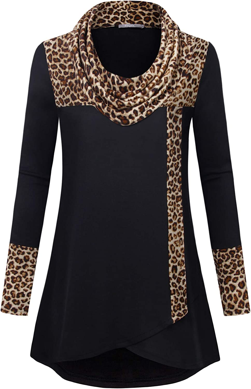 Furnex Women's Long Sleeve Cowl Neck Tunic Top Casual Pullover Sweatshirt