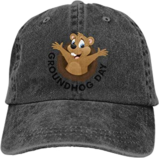 Unisex Groundhog Day Vintage Chic Denim Adjustable Dad Hats Baseball Cap Black