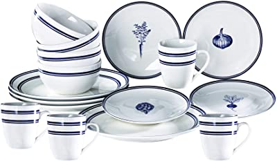 American Atelier Veggies 16 Piece Round Dinnerware Set, 10.5x10.5, Blue Stripe