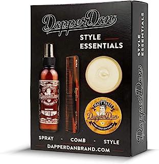 Dapper Dan Style Essentials Gift Pack, with Matt Paste 100ml, Sea Salt Spray 200ml and Hand Made Styling Comb