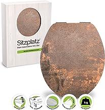 SITZPLATZ WC-bril met automatische sluiting, decor roestrood, High Gloss toiletbril met houten kern, Fast-Fix snelbevestig...