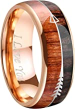 """Crownal 6mm 8mm Tungsten Koa Wood Zebra Wood Arrows Meteorite Inlay Vikings Hunting Ring Band Silver/Black/Rose Gold Engraved""""I Love You"""" Size 5 To 17"""