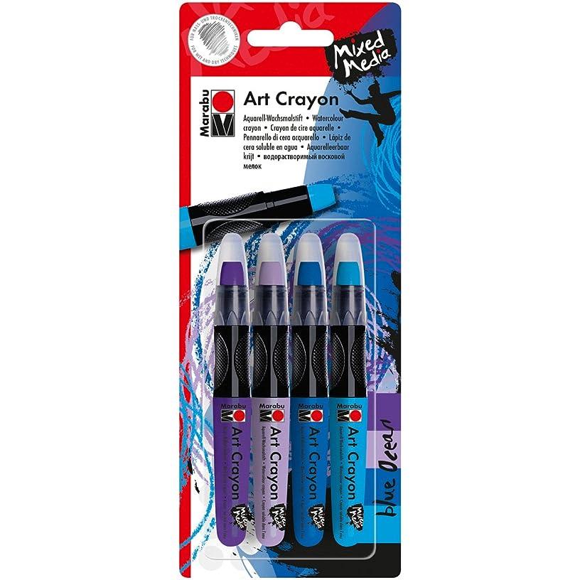 Marabu 1409000-201 Creative Art Crayon Set 4/Pkg-Blue Ocean-Blues & Purples