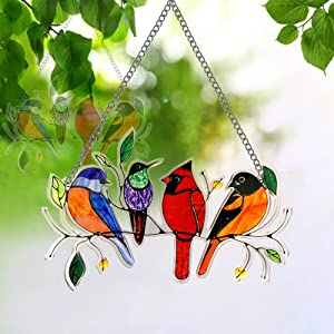 Bird on a Wire Wall Art Decor, Wall Bird Suncatcher for Window, Hummingbird Stained Window Hangings Birds Garden Sun Catchers Indoor Decorations Ornaments Acrylic Bird Gifts for Bird Lovers [4 Birds]
