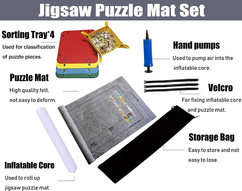 Puzzle Mat Roll Up Puzzle Storage Puzzle Saver 500,1000,1500,2000 Pieces Universal Felt Puzzle Mat Set with 4 Pcs Sorter Trays Non-Skid Portable for Adults Kids Men Women Green