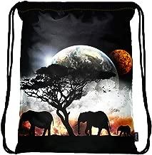 Meffort Inc Lightweight Drawstring Bag Sport Gym Sack Bag Backpack with Side Pocket - Planet View
