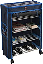 Steel Collapsible Shoe Stand (Black, Blue, 4 Shelves)