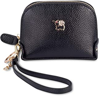 Coin Purse Wallet leather Wristlet Handbags with Wrist Strap Cute Mini Designer Pouch Great Gifts for Women Girls (Elephant black)