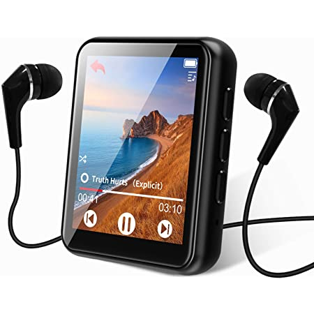 MP3 Player Bluetooth 5.0 Touch Screen Music Player Portable mp3 Player with Speakers high Fidelity Lossless Sound Quality mp3 FM Radio Recording e-Book 1.8 inch Screen MP3 Player Support (128GB)