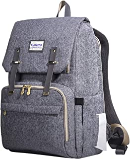 SUNVENO Baby Diaper Bag Backpack Nappy Changing Waterproof Function Organizer Large Stylish Mommy Bag Backpack (Gray)