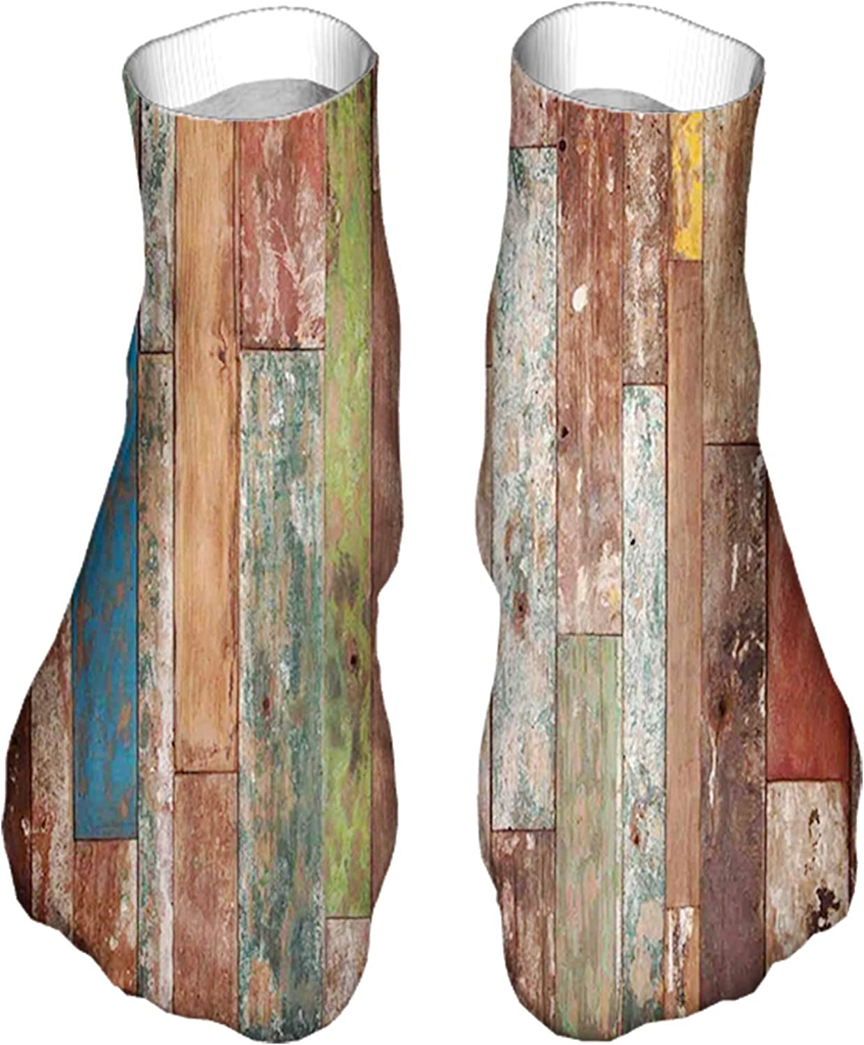 Women's Colorful Patterned Unisex Low Cut/No Show Socks,Grunge Style Planks Print Weathered Old Look Vintage