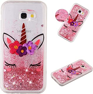 MEIKONST Galaxy A5 2017 case, Clear Soft TPU Pink Unicorn Stylish Design with Hearts Glitter Bling Quicksand Shiny Flowing...