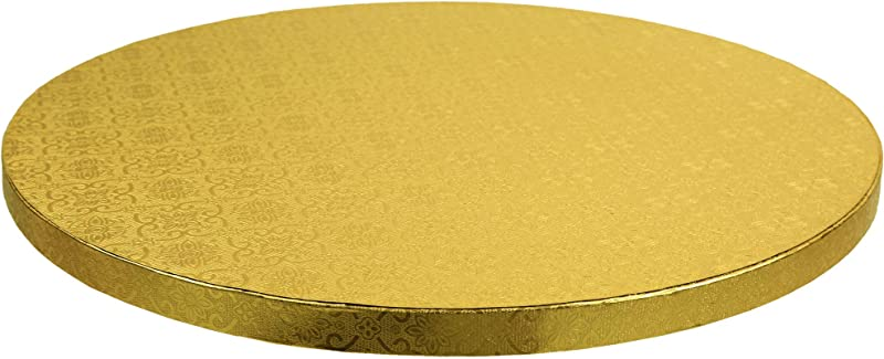 O Creme Cake Board Gold Foil Round Cake Circles With Gorgeous Design Sturdy Durable 1 2 Thick Cake Drums Round Cake Boards With 14 Diameter Pack Of 5 Disposable Cake Drums