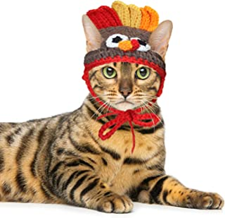 RYPET Cat Turkey Costume - Pet Turkey Hat Thanksgiving Apparel for Cats Small Dogs