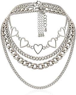 tenghong2021 Silver Layered Choker Necklace Simple Hearts Necklace Lolita Choker Chain Detachable Boho Layered Dainty Laye...