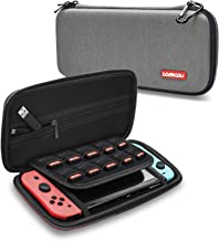 Lammcou Slim Carrying Case for Nintendo Switch with 10 Game Cards Slots, Aluminum Carabiner, Double Zipper, Enhance Elastic Strap. Soft Padded Storage Bag for Nintendo Switch Accessories - Gray