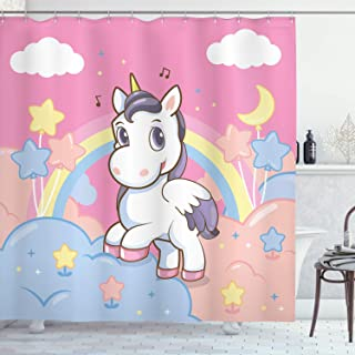 Ambesonne Feminine Shower Curtain, Unicorn with Rainbow and Music Notes Clouds in The Sky Art Print, Cloth Fabric Bathroom Decor Set with Hooks, 70