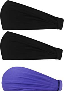 Sunland Womens Headbands Cotton Elastic Head Wrap Stretchy Moisture Yoga Hairband Scarf Twisted Cute Workout Hair Accessories 3Pack