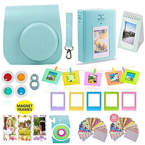 Fujifilm Instax Mini 9 or Mini 8 Instant Camera Accessories Bundle 11 Piece Gift Set Kit Includes BLUE Case with Strap, Albums, Filters, Selfie lens, Hanging + Creative Frames, 60 stickers & More