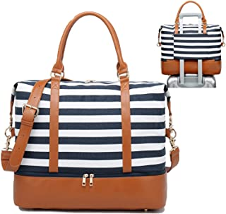 Womens Travel Weekend Bag Canvas Overnight Carry on Shoulder Duffel Beach Tote Bag (Blue stripe with shoe compartment)