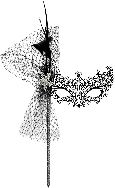 Success Creations Odette Deluxe LaserCut Metal Black Venetian Masquerade Mask Mask on a Stick