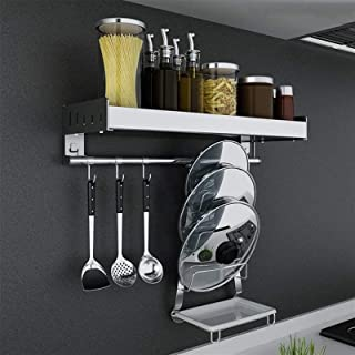 Porte-casseroles Rangement de Cuisine Étagère murale étagère pour la cuisine en acier inoxydable rack d'épice avec crochet...