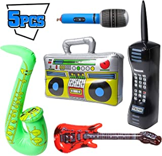 WATINC 5Pcs Inflatable Rock Star Party Favor, Inflatable Boom Box Mobile Phone Guitar Party Props for 80's 90's Party Deco...